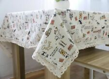 Solid Printed Pattern Rectangle Shape Tablecloth For Outdoor Party Lace Decor