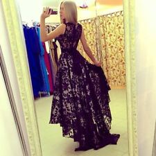 Women Black And White Color Floral Lace Decorated Sleeveless Long Dress N203