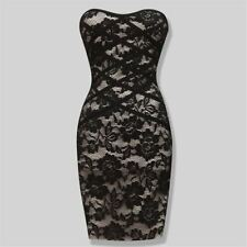 Black Color Strapless Lace Pattern New Fashion Bodycon Dress For Women