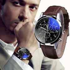Fashion Mens Watch Stainless Steel Case Leather Band Quartz Business Wrist Watch