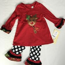 NWT Rare Editions Girls Holiday Christmas Red Set Outfit Dress 18M-24M