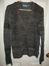 SIMPLY VERA WANG GRAY SILVER LUREX CARDIGAN SWEATER XS S NEW