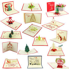 3D Pop Up Handmade Christmas Card with Envelope New Year Gifts Wishes Xmas card