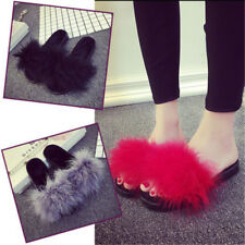 Women Sandals Feather Marabou Mules Open Toe Sliders Slippers Feather Fluffy W