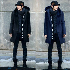 Winter Men's Slim Stylish Trench Coat Thick Double Breasted Long Jacket Exotic