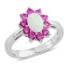 Simulated Pink Diamond, Lab Created Opal Silvertone Flower Ring  TGW 1