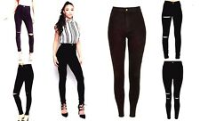 WOMENS HIGH WAISTED SKINNY JEANS RIPPED LADIES JEGGINGS KNEE 6 8 10 12 14 New!