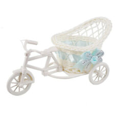 Rattan Tricycle Bike Basket Garden Party Office Bedroom Vase Storage Decoration