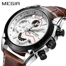 MEGIR Military Sport Watch Men Luxury Leather Army Quartz Watch Chronograph