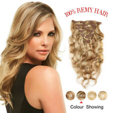 7Pcs Full Head Clip In Human Hair Extensions 100% Real Remy Hair Weft  #27-613