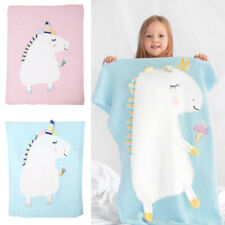 Infant Baby Knitting Wool Unicorn Blanket Kids Crocheted Sofa Beach Quilt Rug