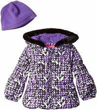 London Fog Girl's Toddler Heavyweight Puffer Jacket Purple Floral Print with Hat