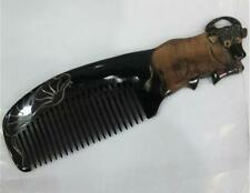 18*5.5cm Chinese Zodiac Natural Horn Comb Handmade Comb Hair Care Product Gift