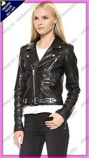 Womens Genuine Lambskin Motorcycle Real Leather Jacket Slim fit Biker Jacket #79