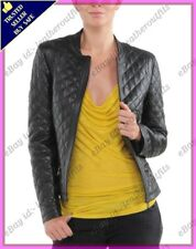Womens Genuine Lambskin Quilted Real Leather Jacket Slim fit Biker Jacket #71