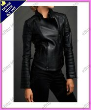 Womens Genuine Lambskin Motorcycle Real Leather Jacket Slim fit Biker Jacket #60
