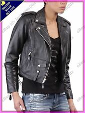 Womens Genuine Lambskin Motorcycle Real Leather Jacket Slim fit Biker Jacket #70