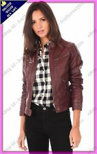 Womens Genuine Lambskin Motorcycle Real Leather Jacket Slim fit Biker Jacket #75