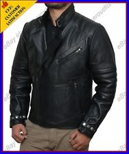 New Men Genuine Lambskin Leather Jacket Black Slim fit Biker Motorcycle jacket