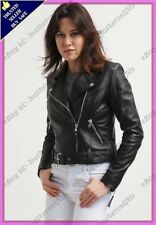 Womens Genuine Lambskin Motorcycle Real Leather Jacket Slim fit Biker Jacket #87