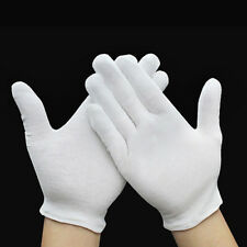 HK- 12 Pairs White Inspection Cotton Work Gloves Coin Jewelry Lightweight Pretty