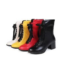 New Fashion Womens Mid Calf Boots Block Heels Lace Up Casual Shoes Zip Plus Size