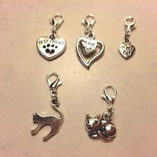 Cat Clip On Charms- Dangle Charms w/Clasp for easy on/off- 6 Different Styles