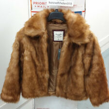 ABERCROMBIE & FITCH WOMENS FAUX FUR JACKET COAT BROWN SIZE MEDIUM A&F