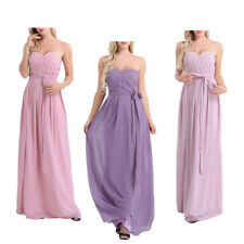 Ladies Strapless Long Chiffon Bridesmaid Gown Women Evening Party Prom Dresses