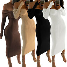 Sexy Women Casual Off Shoulder Long Sleeve Ribbed Bodycon Dress Evening Clubwear