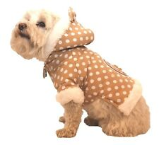 Pet Life Polka-Dot Couture-Bow Pet Hoodie Sweater~Brown~Ultra-Plush/Faux Fur!