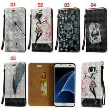 Feather Skull Wallet Leather Flip Case Cover For Samsung S8 S7 S5 Note 8 J5 J3