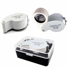 30/40x Dual Lens Jewelers Eye Loupe Illuminated LED Metal Body Glass Magnifier^B