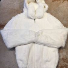 Winter Fur Women's White Rabbit Fur Bomber Jacket