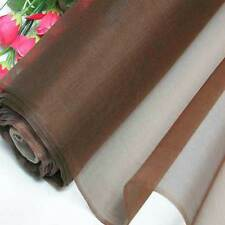 "55""W Milk Coffee 100% Pure Silk Organza Fabric Material Sheer Voile + Button"