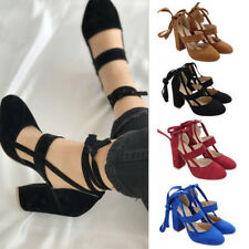 Womens Lace up Strappy Ankle Sandals High Heels Ponited Toes Pumps Shoes Size