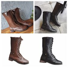 New Womens Ladies Boots Winter Lace Up Zipper Low Block Heels Casual Work Shoes