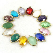 10Pcs faceted Czech crystal glass charm oval connector for bracelet necklace