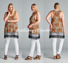 New EMERALD Long Double Layer Lace Leopard Print Jersey Knit Tank Top Plus Size