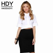 HDY Haoduoyi European OL shirt slim half sleeve crop top brief women white shirt