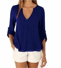 Loose Button Long Sleeve Deep V Neck Chiffon Blouse of Large Size Women's Shirts