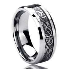 8MM Stainless Steel Wedding Band Ring Celtic Dragon Inlayed Ring