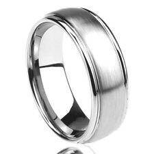 8MM Stainless Steel Wedding Band Ring Brushed Center Domed Classy