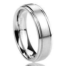 6MM Stainless Steel Wedding Band Ring Brushed Center Classy Ring