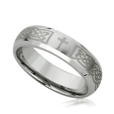 6MM Stainless Steel Wedding Band Ring Laser Etched Irish Celtic Knott & Cross