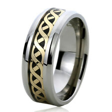 8MM Titanium Mens Womens Rings Gold Tone Mariner Chain Inlayed Wedding Bands