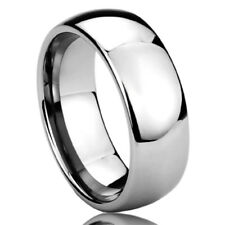 8MM Titanium Mens Womens Rings Polished Domed Comfort Fit Wedding Bands