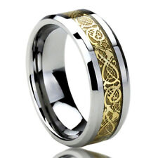 8MM Titanium Mens Womens Rings Gold Tone Inlay Celtic Dragon Flat Wedding Bands