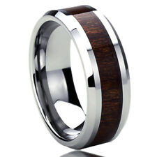 8MM Titanium Mens Womens Rings Wood Grain Inlay Beveled Edges Wedding Bands