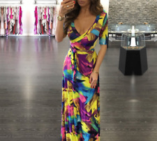 Womens V Neck Boho Maxi Dress Evening Cocktail Party Beach Dresses Sundress New